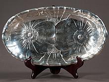 "Wallace sterling silver oval bread tray having poppy decoration, 11.5"" long,  7"" wide"