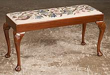 """Queen Anne style mahogany hall bench with needlepoint cushion, cabriole legs, shell carved knees and pad feet, 36"""" long, 14"""" wide, 19"""" high"""