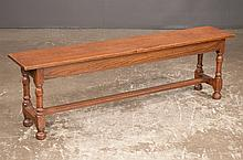 """Jacobean style oak hall bench on turned legs with stretcher, c.1900, 55"""" long, 11"""" wide, 17"""" high"""