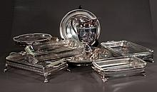 Group of silver plated casserole dishes, compotes, small trays, pitcher, bowl and ice tong