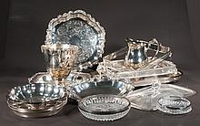 Box lot of assorted silver plated trays, casserole frames, vase and pitcher