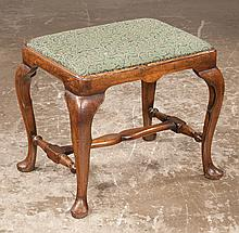 """Queen Anne mahogany stool on cabriole legs with pad feet and stretcher, c.1890, 19"""" long, 15"""" wide, 18"""" high"""