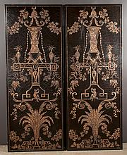 """Pair of Chinese lacquered panels with gold gilt urn and floral decoration, 72"""" high, 28"""" wide"""