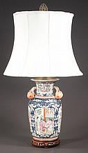 "Chinese porcelain vase with scenic figural and floral decoration, adapted as a lamp, 25"" high"