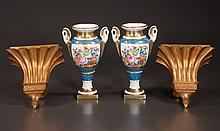 """Pair of Robin egg blue and gold Old Paris porcelain urns with floral decoration, urn and swan head handles, 10"""" high, and a pair of gold gilt wall brackets, 8.5"""" high"""