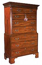 """Chippendale mahogany chest on chest with dentil work and blind fret carved cornice, fluted chamfered corners and bracket feet, c.1780, 42"""" wide, 21"""" deep, 74"""" high"""