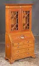 "Miniature Chippendale style decorated satinwood bureau bookcase with good fitted interior and ogee bracket feet, 24"" wide, 10"" deep, 47"" hi gh"