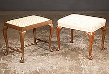 """Queen Anne style walnut stool, 21"""" long, 16"""" wide, 18"""" high and a Queen Anne style fruitwood stool with stretcher, 20"""" long, 14"""" wide, 18"""" high, two pieces"""