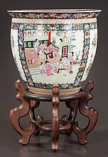 "Chinese porcelain fish bowl with scenic, figural, bird and floral decoration, 15"" diameter, 14"" high, with wooden stand"