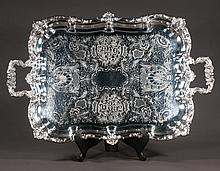 """Large silver plated footed serving tray with scroll and shell design, 28"""" long, 18 wide"""