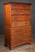 """Chippendale mahogany chest on chest with dentil crown moulding, pull out slide and bracket feet, c.1790, 42"""" wide, 21"""" deep, 72"""" high"""