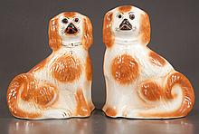 """Pair of decorated Staffordshire dogs with glass eyes, c.1890, 13"""" high"""