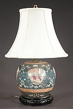 "Chinese porcelain vase with panel scenery, figural and floral decoration, adapted as a lamp, 22"" high"