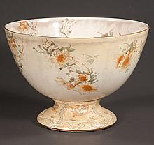 """Large Royal Doulton punch bowl with multicolor leaf and floral decoration, c.1900, 16"""" diameter, 11"""" high"""