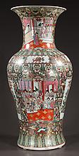 "Large Chinese rose medallion palace urn with panelled scenery, figural and floral decoration, 30.5"" high"
