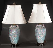 "Pair of Chinese porcelain vases with butterfly, floral and bird decoration, adapted as lamps, 32"" high"