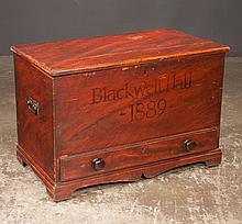 """Country pine blanket chest with original decoration, long drawer in the base and bracket feet on front, marked Blackwell, c.1889, 36"""" wide, 20"""" deep, 24"""" high"""