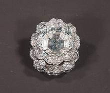 """Collection of three sterling silver salt cellars in Reed and Barton's Francis I pattern with fruit and flower pendants, 3.5"""" diameter"""