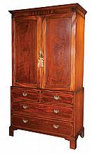 """Chippendale mahogany linen press with panel doors, two small drawers over two full graduated drawers and on bracket feet, c.1830, 48"""" wide, 22"""" deep, 90"""" high"""