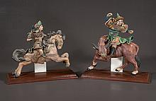 """Pair of Chinese mud figures, one on horseback, one on a bull, 14"""" long, 6"""" wide, 12"""" and 14"""" high"""