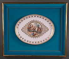 "Dresden porcelain 17"" x 13"" pink and gold oval charger having scene depicting Napoleon on the battlefield with officers, signed Karvan in blue velvet shadowbox frame, 24"" high, 28"" wide"