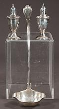 """Pair of sterling silver salt and pepper shakers, 5"""" high and a sterling silver punch ladle, 14"""" long"""