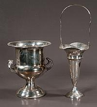 """Sterling silver vase with flared top and handle, As Found, 6.5"""" wide, 10.5"""" high, along with a silver plated wine cooler with double handles, 9"""" diameter, 10.5"""" high"""