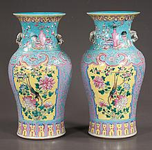 "Pair of Chinese porcelain vases with multicolor bird and floral decoration, c.1880, 14"" high"