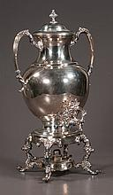 """Silver plated coffee or tea urn with dome lid and on a stand with cabriole legs and burner, 9.5"""" wide, 18"""" high"""