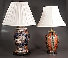 "Imari porcelain ginger jar adapted as a lamp, 31"" high, and a Chinese porcelain vase adapted as a lamp, 28"" high"