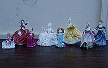Group of 8 Royal Doulton figures of young women, Monica, Antoinette, Suzette, Jacqueline, Vanity, The Last Waltz, Make Believe, Autumn Breezes (some chips on Autumn Breezes)