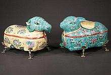 Pair of Chinese porcelain animal form boxes with multicolor fruit and floral decoration with silver plated stands, 16
