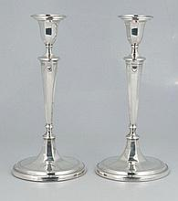Pair of Tiffany and Co. sterling silver candlesticks, c.1920, 12