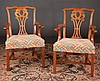 Set of eight Chippendale mahogany dining chairs with pierced and scroll carved backs, straight legs with canted corner and stretcher; armchairs-23