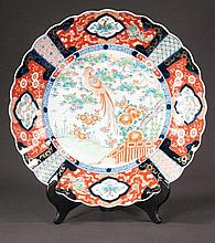 Imari porcelain charger with cobalt blue, green and bittersweet bird, scenic and floral decoration, c.1880, 18