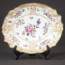 Oval Meissen porcelain bowl with gold and multicolor floral decoration, c.1890, 13