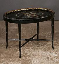 Oval decorated black lacquered tole tray on a custom black lacquered stand with bamboo turned legs, 30