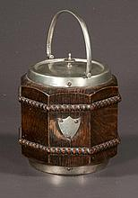 Scottish oak biscuit barrel with porcelain liner, c.1900, 6