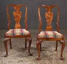 Set of four Queen Anne style side chairs with urn shape splat backs, balloon shape seats, cabriole legs and pad feet, 20