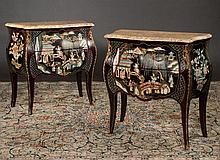 Pair of bronze mounted Louis XV marble top bombe commodes with chinoiserie lacquer decoration, 32