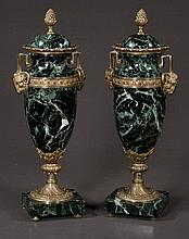 Pair of bronze mounted verde green marble urns with dome lids and rams head mounts, c.1890, 14