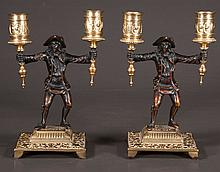 Pair of French bronze candelabra with figures of two men holding the candle holders, c.1880, 9