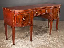 Inlaid Sheraton mahogany sideboard with shaped front, satinwood bell flower inlay and square tapered legs, c.1830, 72