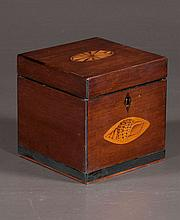 Sheraton mahogany tea caddy with oval satinwood medallion inlay in the top and oval satinwood shell inlay in the front, c.1880, 5