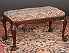 Irish Chippendale mahogany hall bench on cabriole legs with shell carved knees and hairy paw feet, c.1860, 36