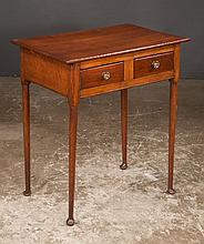 American pine and walnut side table with two drawers, tapered legs and pad feet, c.1860, 26