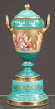 Royal Vienna hand painted and gilt jewelled cabinet vase, depicting