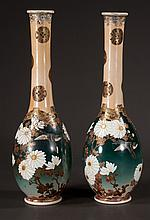 Pair of Satsuma vases with multicolor bird and floral decoration, c.1900, 18