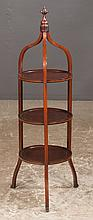 Three tier Sheraton style mahogany muffin stand with string satinwood inlay and splay legs, c.1900, 11