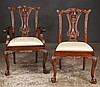 Set of eight Chippendale style mahogany dining chairs with interlaced carved backs, cabriole legs, carved knees and ball and claw feet, armchairs-25